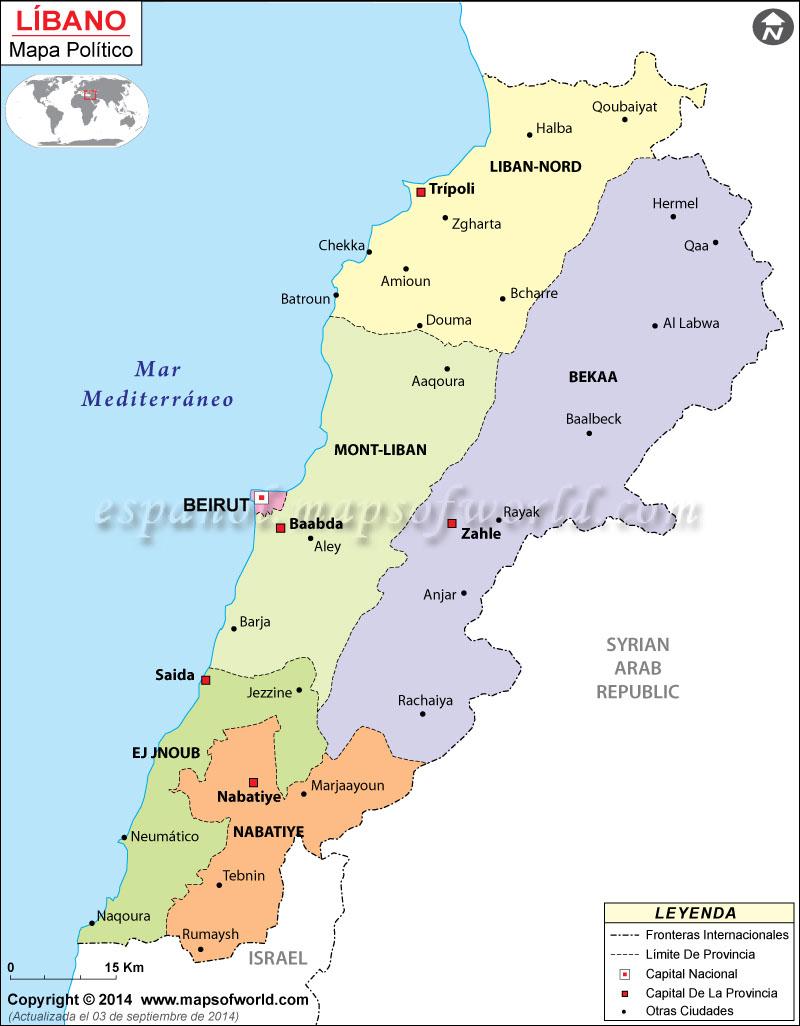 libano mapa Líbano Mapa libano mapa