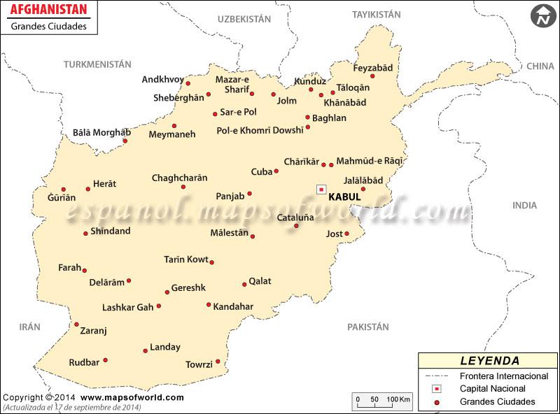 Principales ciudades en Afganistán