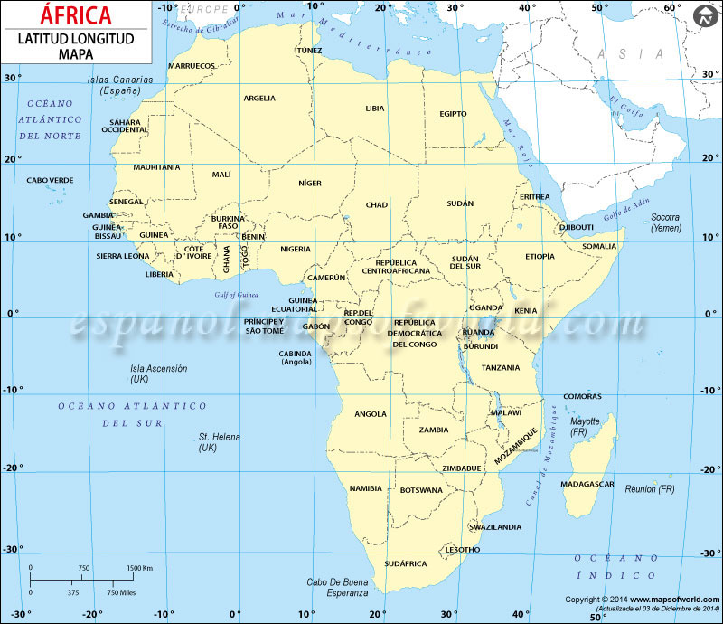 África Latitud y Longitud Mapa