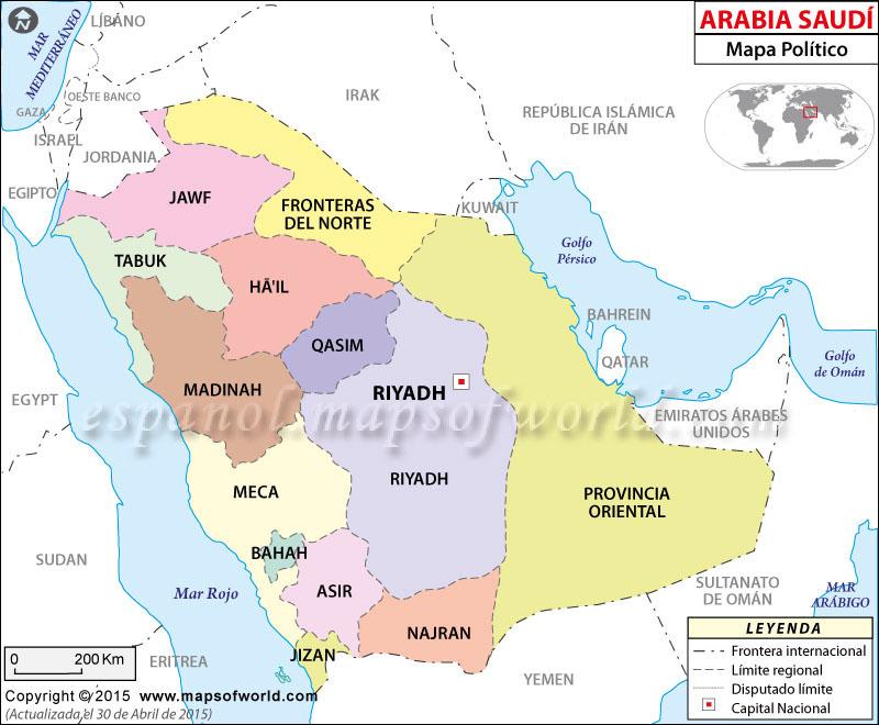 Arabia Saudita Mapa Político