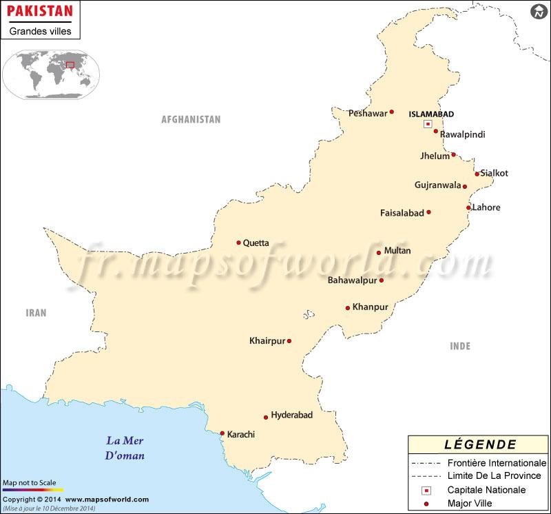 Pakistán Ciudades Mapa