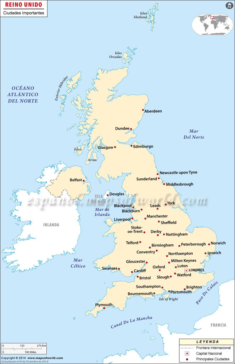 Reino Unido Ciudades Mapa
