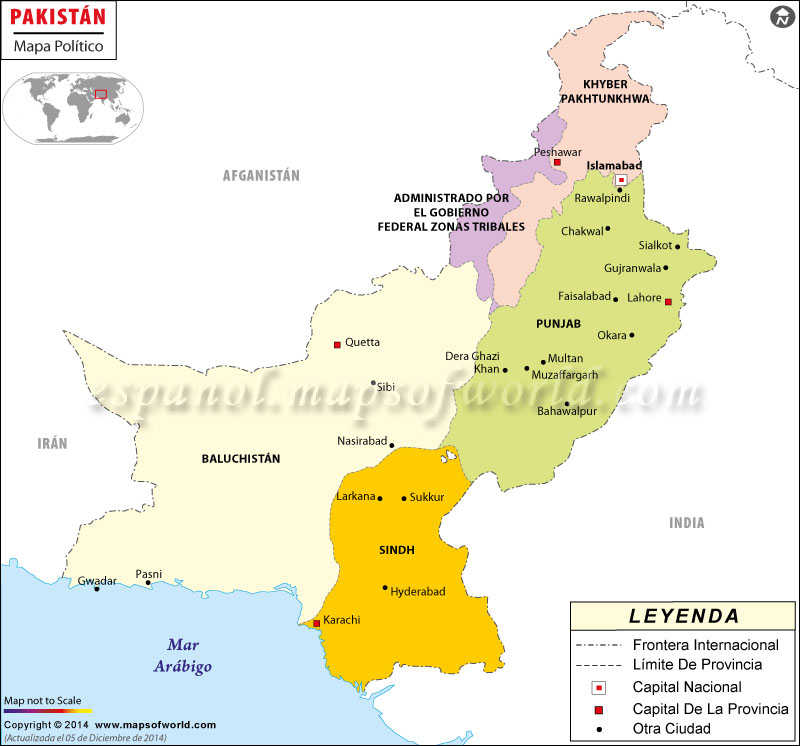 Mapa político de Pakistán