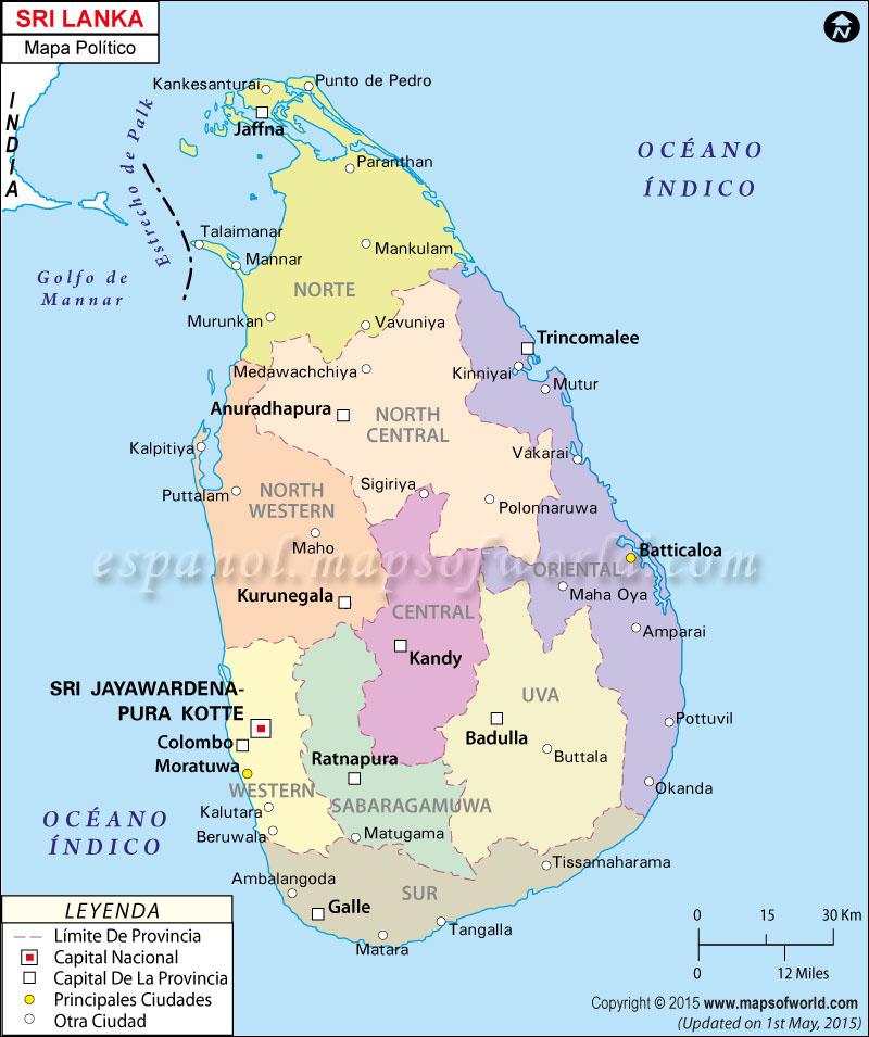 Sri Lanka Mapa Político