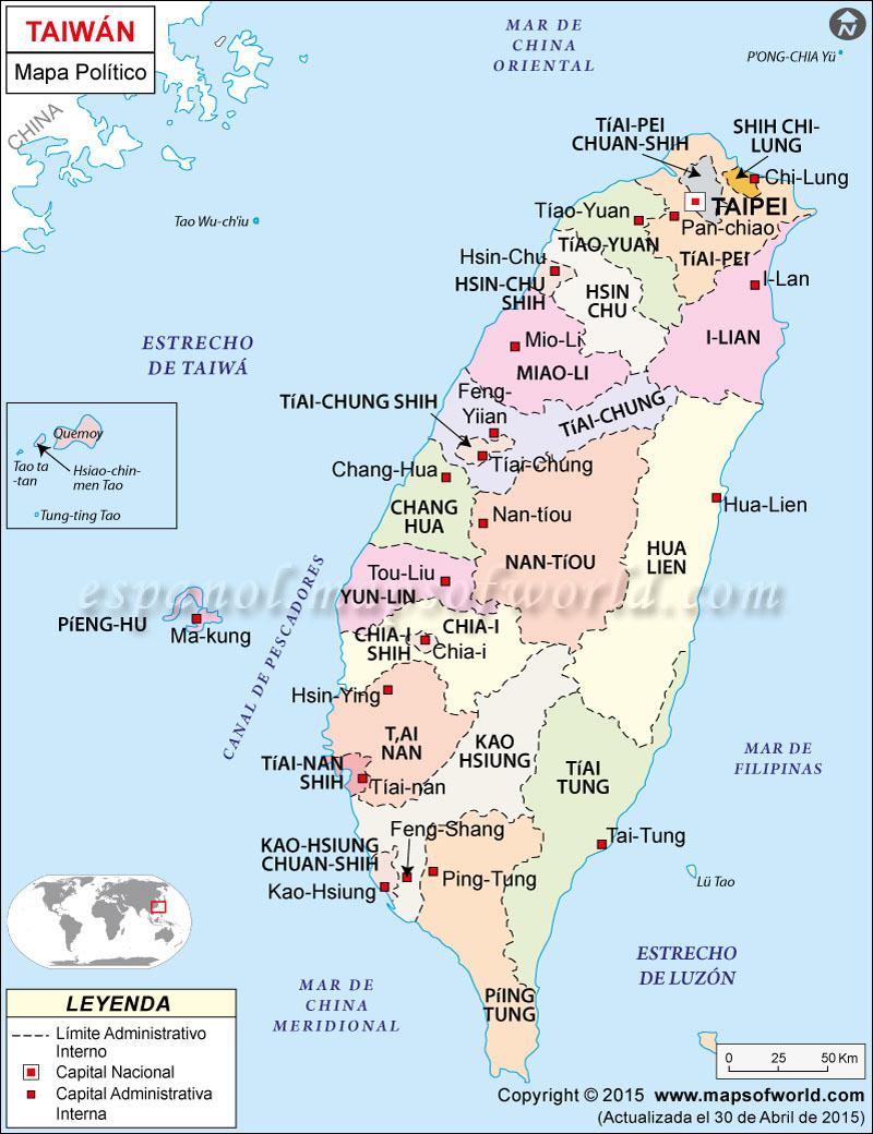 Taiwan Mapa Político
