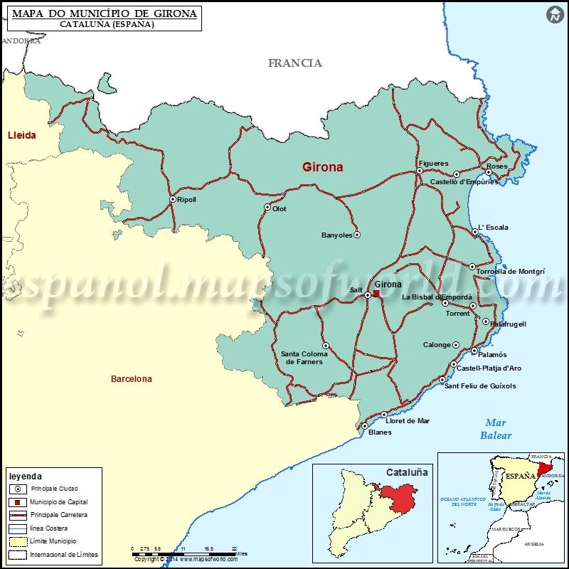 Girona Municipio Mapa Cataluna Espana