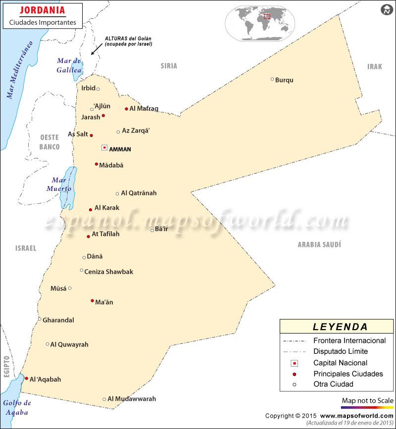 Jordania Ciudades Mapa