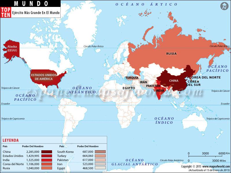Top diez países con más grande ejércitos