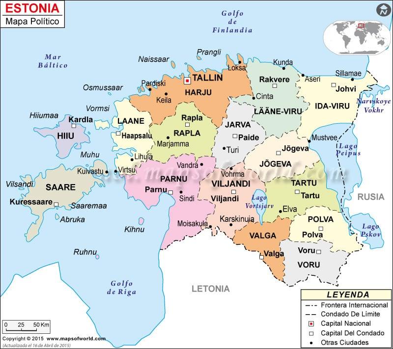 Estonia Mapa Político