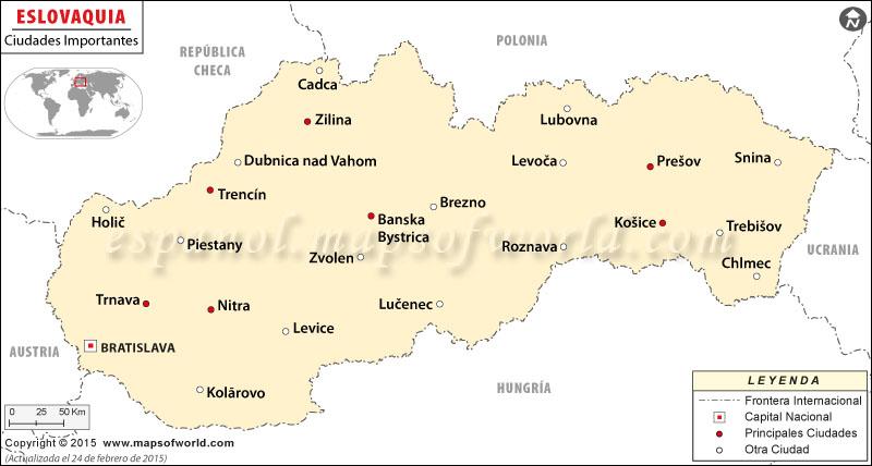 las principales ciudades en Eslovaquia