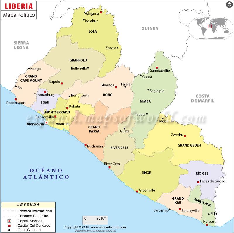 Worksheet. Liberia mapa Mapa de Liberia
