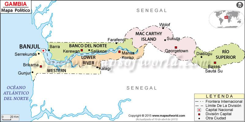 Mapa político de Gambia