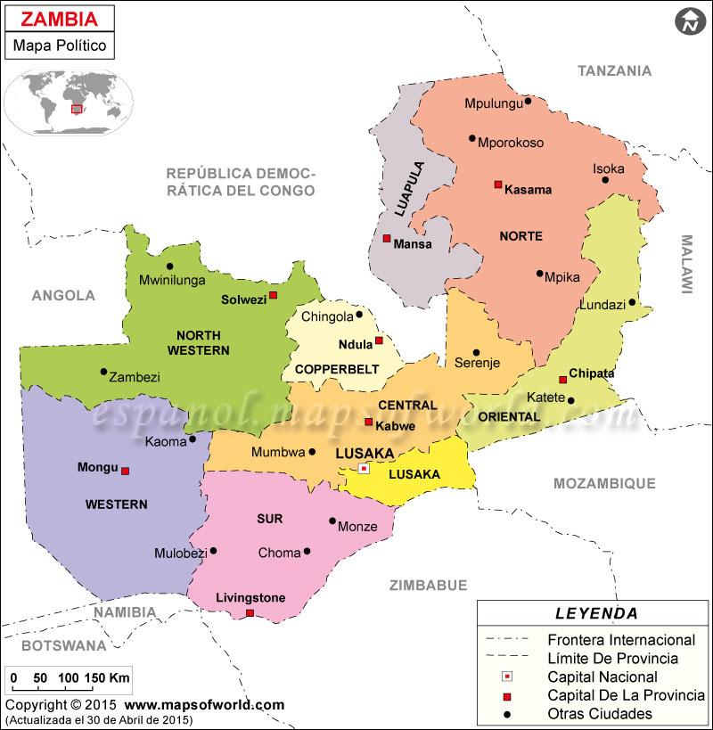 Zambia Politico Mapa