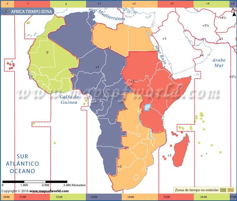Mapa de la zona horaria de África