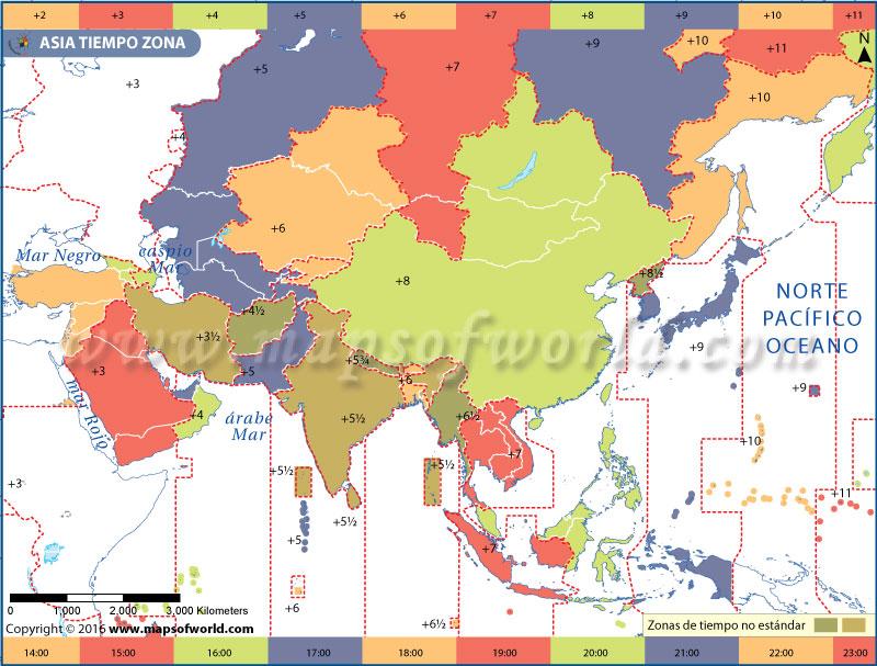 Mapa de la zona horaria de Asia