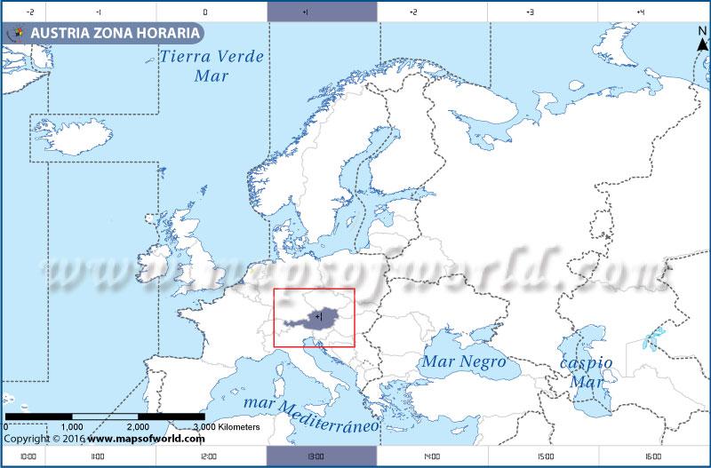 Mapa de la zona horaria de Austria