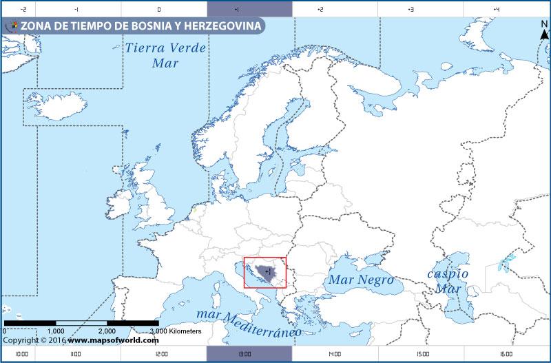 Mapa de la zona horaria de Bosnia