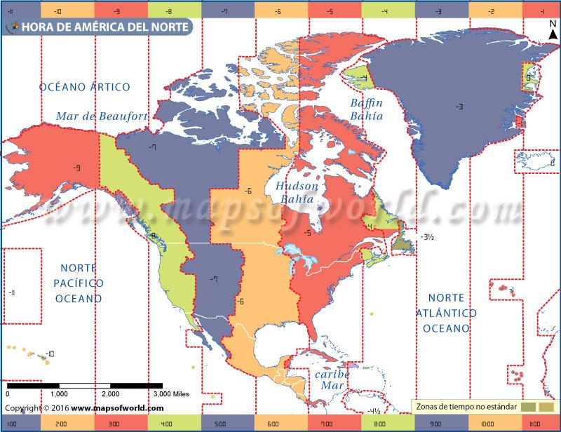 Mapa de la zona horaria de América del Norte