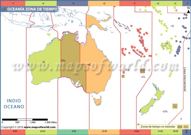 Mapa de la zona horaria de Oceanía