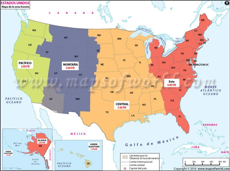 Mapa de la Zona Horaria de USA