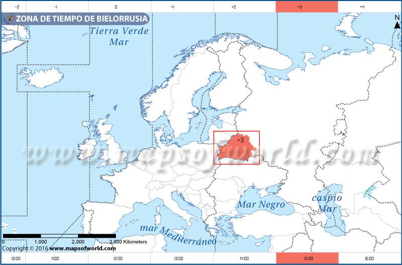 Mapa de la zona horaria de Bielorrusia