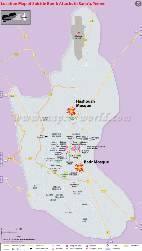 Location of suicide bomb attacks in Sana'a
