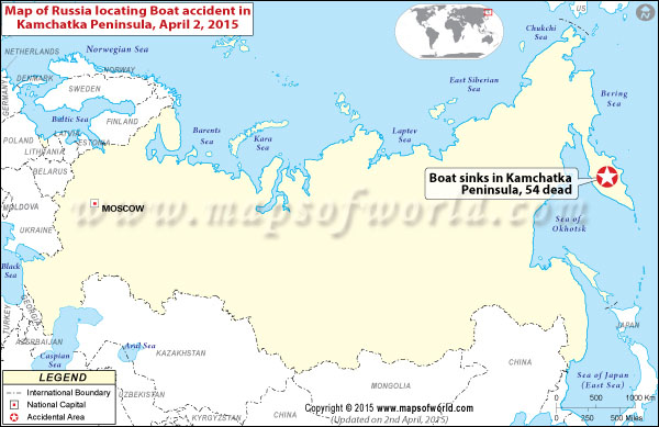 map of Russia locating Boat accident