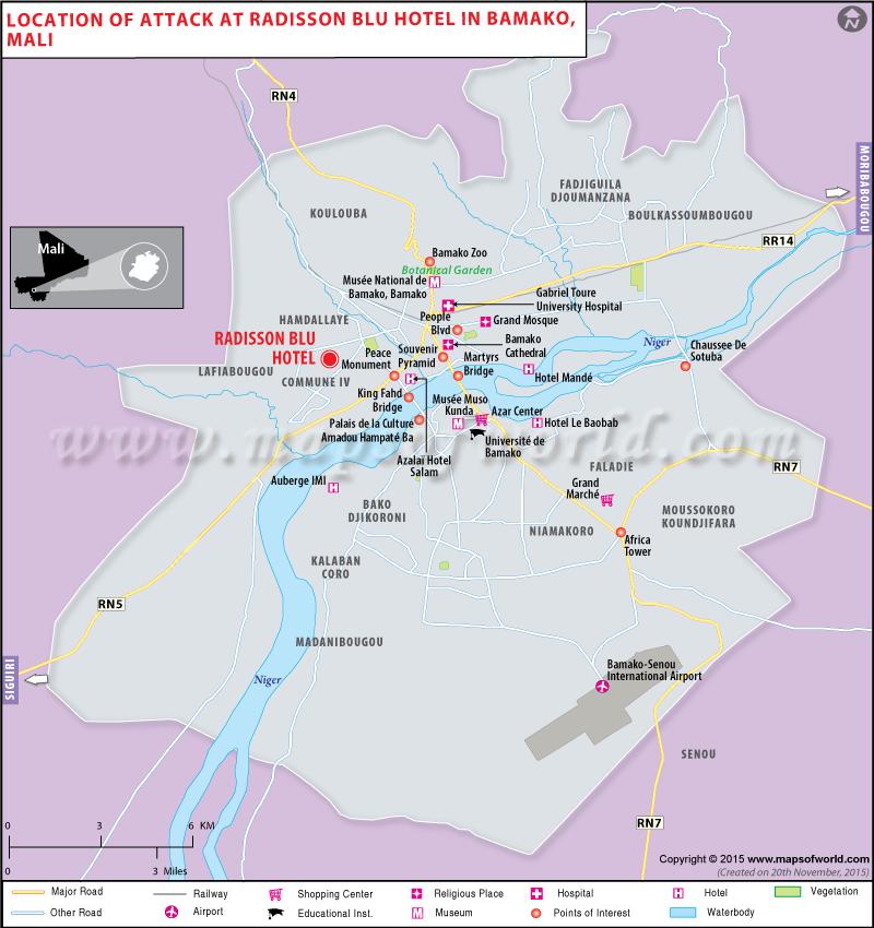 Location of Gunmen attack at radisson hotel in Bamako, Mali
