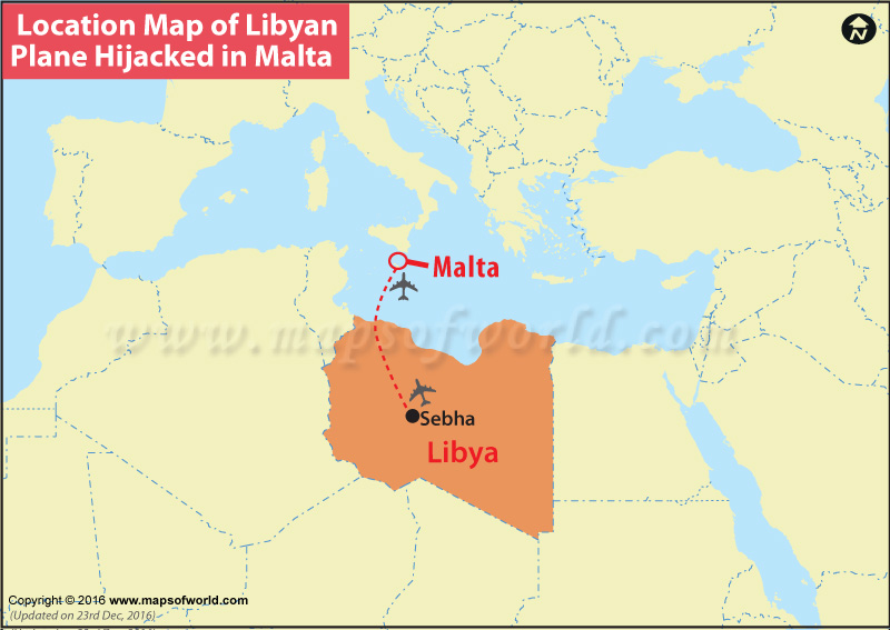 Location Map of Libyan Plane Hijacked in Malta