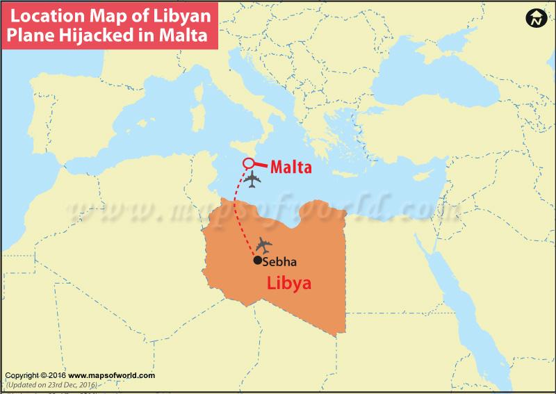 Location Map Of Libyan Plane Hijacked In Malta