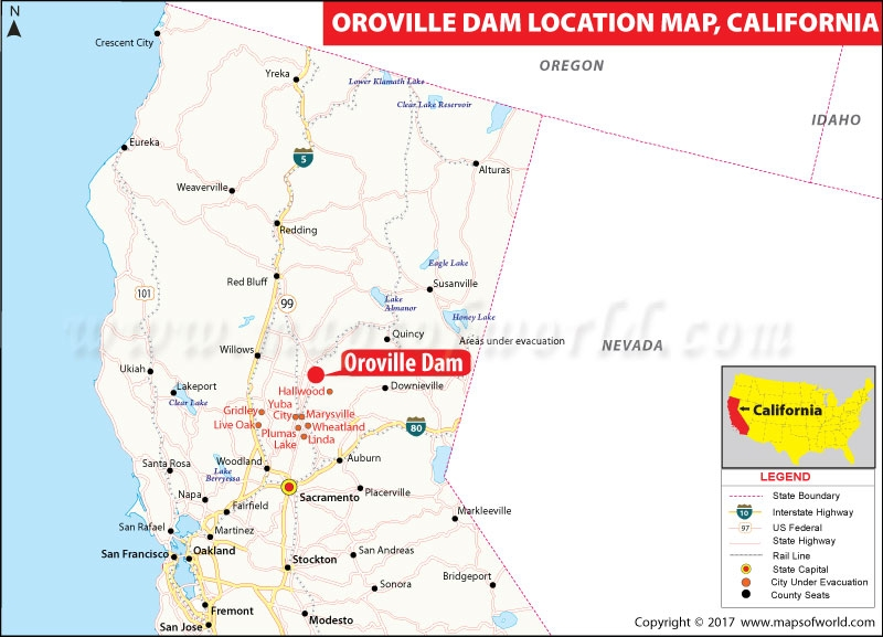 Map Of California Oroville Dam.Residents Near California Dam Evacuate After Officials Issue Order
