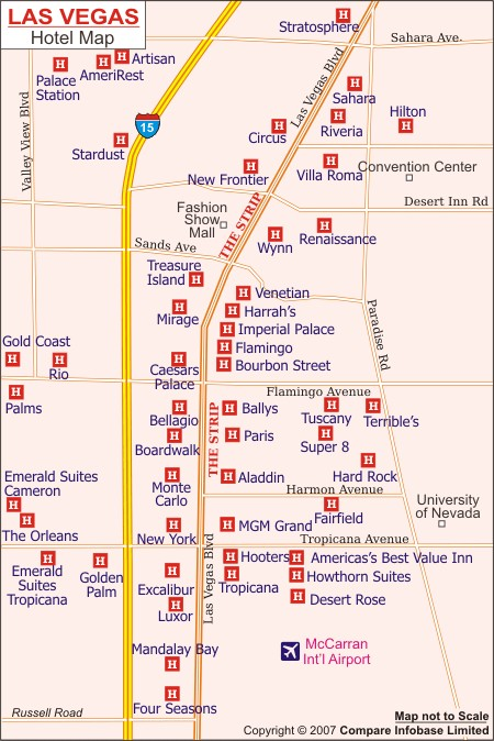 hotel in of can strip Map