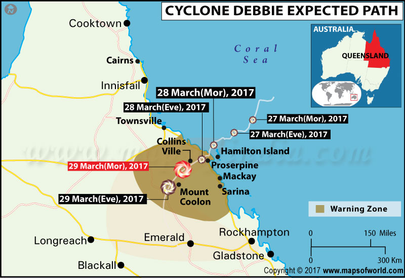 Cyclone Debbie Tracking Map