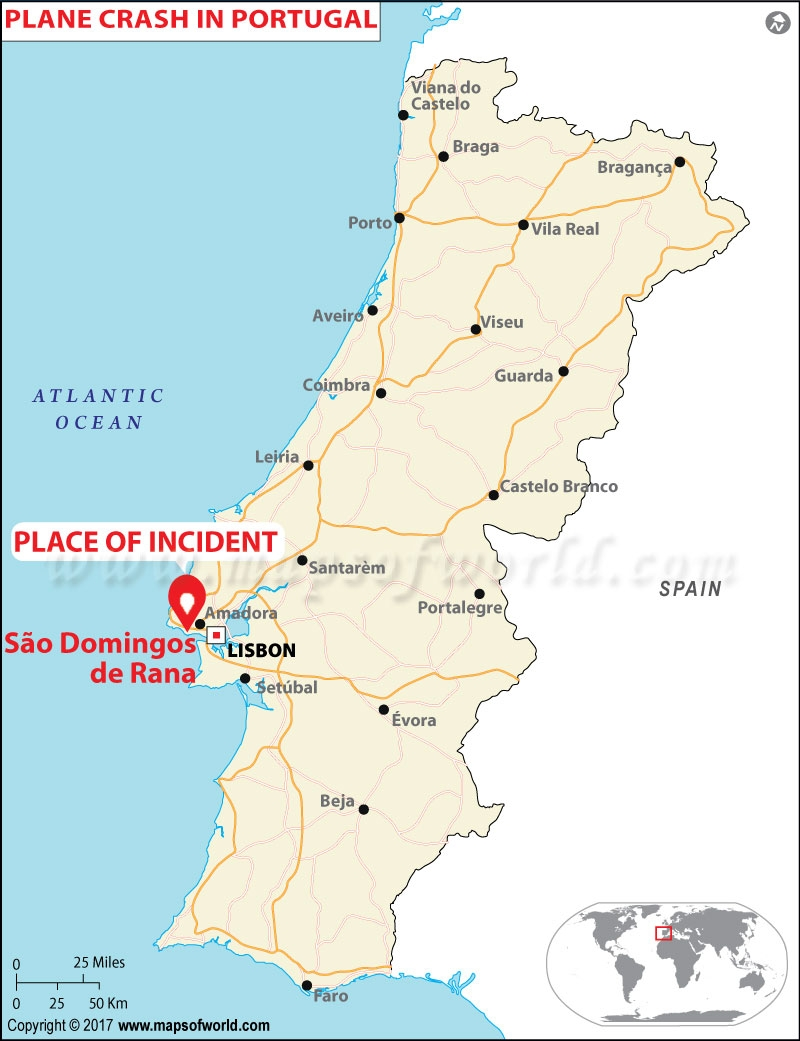 Location Map of Plane Crash in Portugal