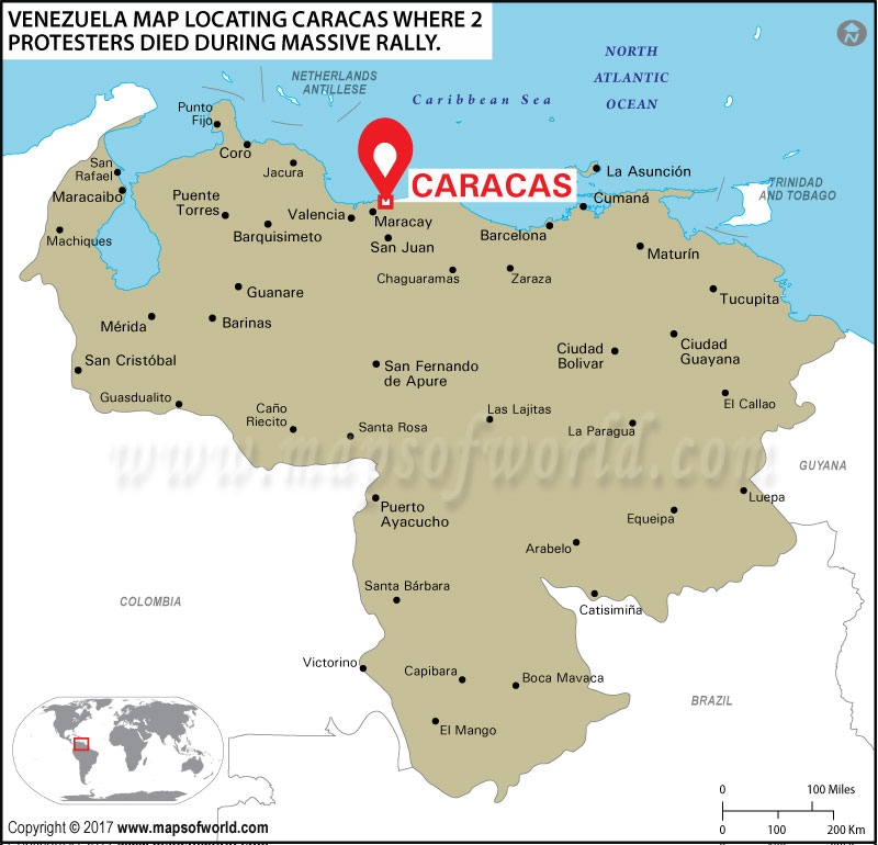 Location Map of Caracas