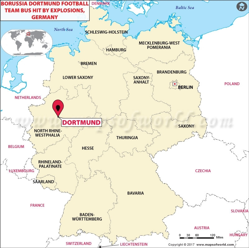 Suspect Arrested Over Borussia Dortmund Bus Attack In Germany - Germany map dortmund