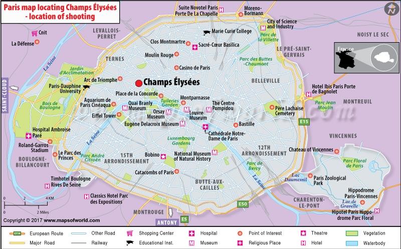 Location Map of Shooting at Champs Élysées, Paris