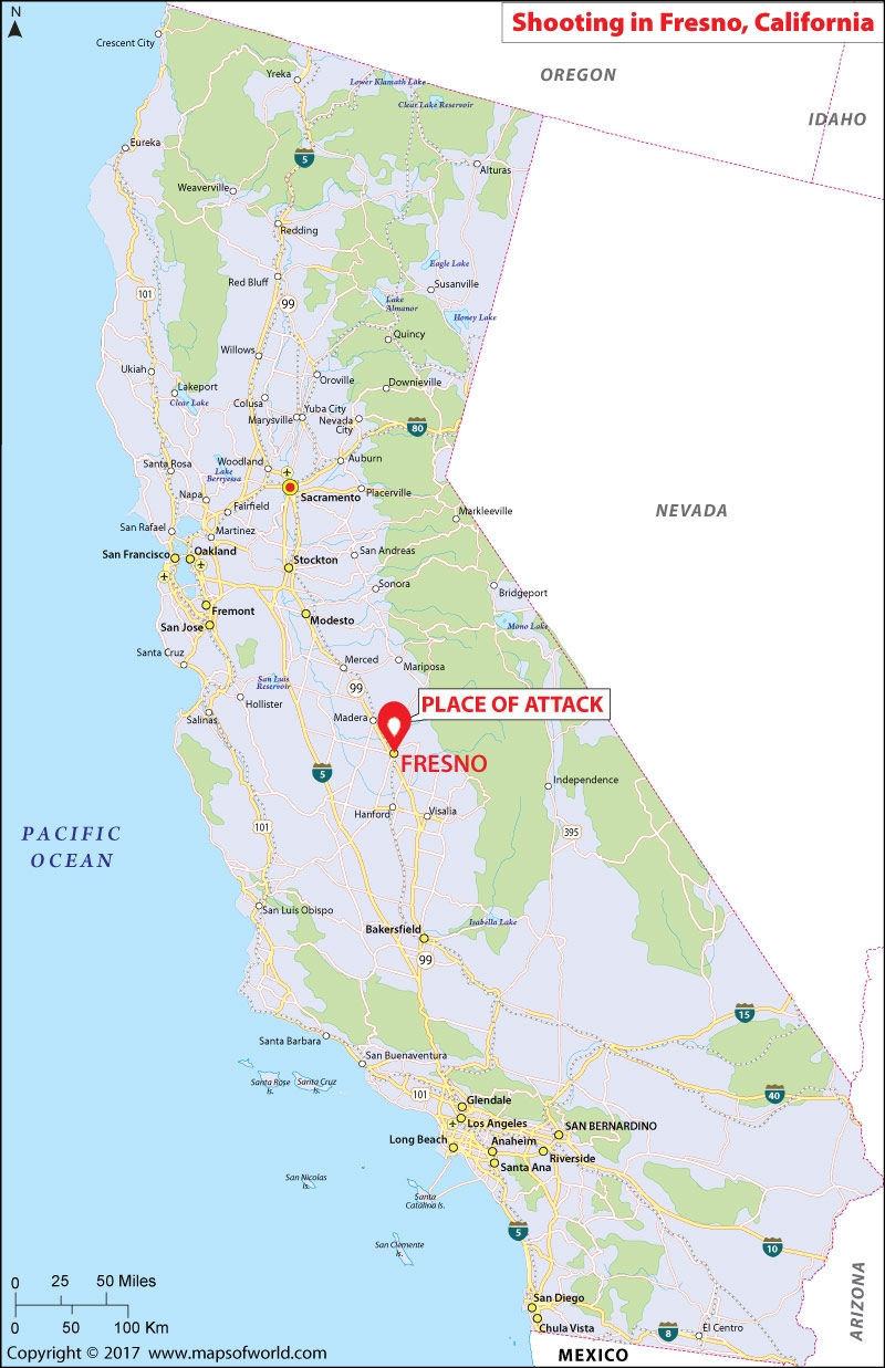 Location Map of Shooting in Fresno, California