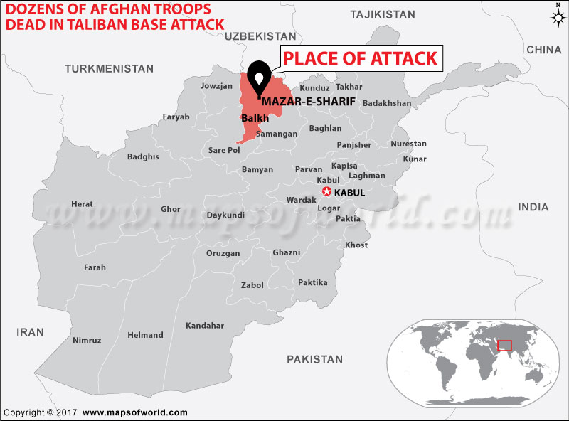 Location Map of Mazar-E-Sharif Military Base Afghanistan