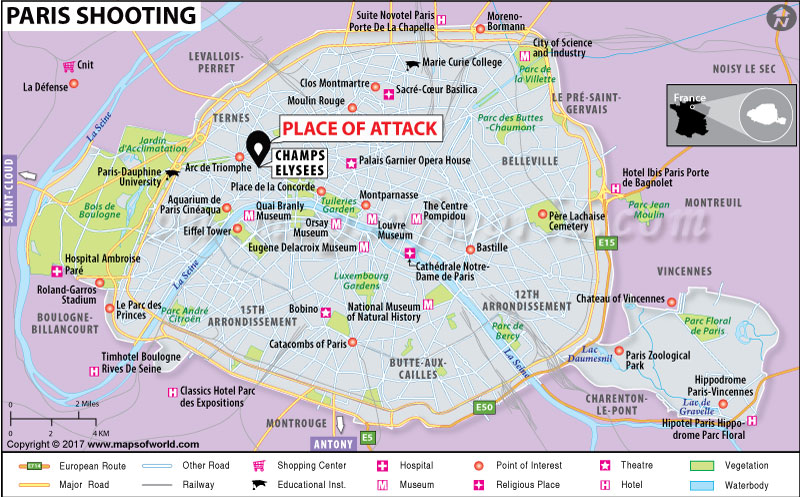 Location Map of Paris Shooting at Champs Elysees