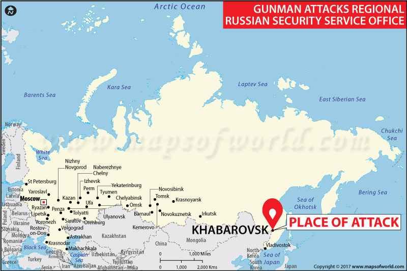 Map Showing Location of Shooting at Russia FSB office in Khabarovsk