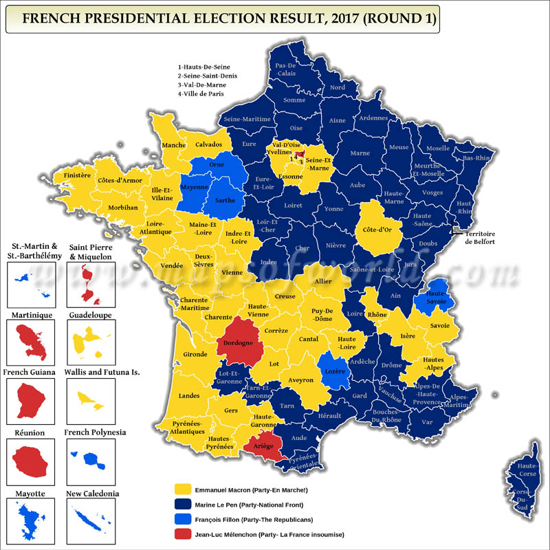 French Presidential Election First Round Results Map 2017