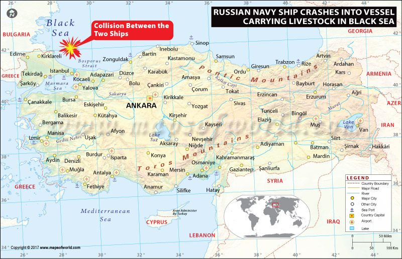 Location Map of Russian Navy Ship Sunk in Black Sea