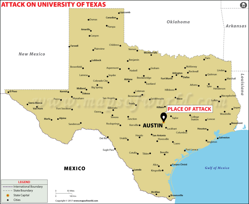 Location Map of Attack on University of Texas