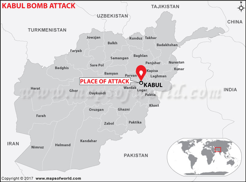 Location Map of Kabul Bomb Attack