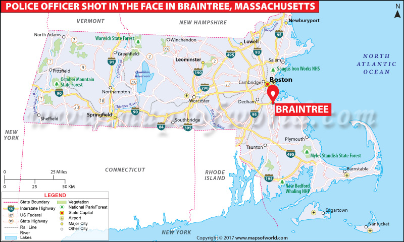 Location Map of Police Officer Shot in the Face in Bbraintree, Massachusetts
