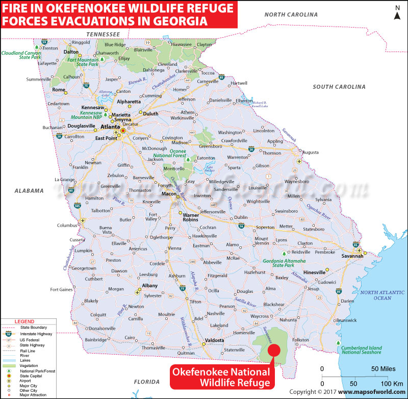 Location Map of Fire in Okefenokee Wildlife Refuge