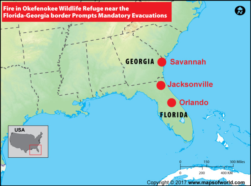 Location Map of Fire in Okefenokee Wildlife Refuge near the Florida-Georgia Border Prompts Mandatory Evacuations