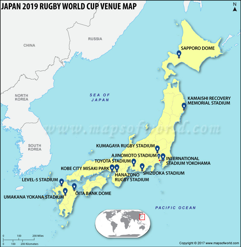 Location Map of Japan 2019 Rugby World Cup Venue