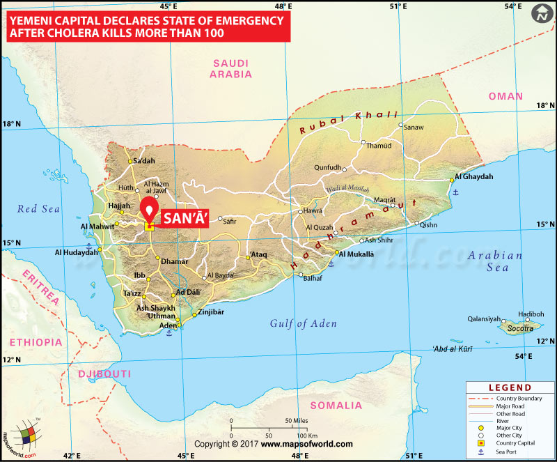 Location Map of Yemeni Capital Declares State of Emergency